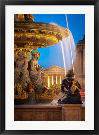 Framed Fontaine des Fleuves with L'eglise Sainte-Marie-Madeleine Print