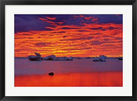 Framed Hudson Bay Floating Ice Against Sunset Print
