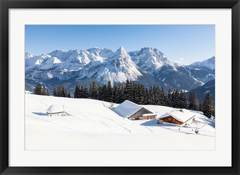 Framed Mieminger Mountains in Winter Print