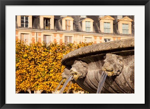 Framed Lion Heads Fountain in Paris, France Print