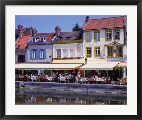Framed Amiens Built on Waterways and Canals, France Print