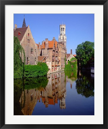 Framed Belfry and Rosary Quay, Belgium Print