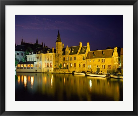 Framed Rozenhoedkaai at Night, Bruges, Belgium Print