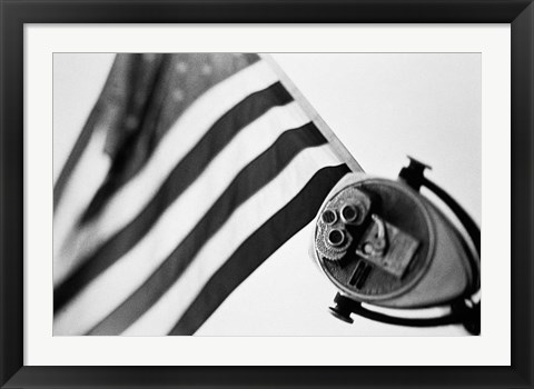Framed Black and White American Flag Print