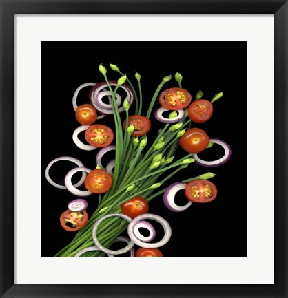 Framed Chive Blossoms, Tomatoes & Onion Print