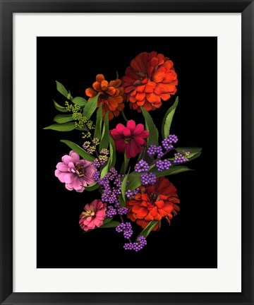 Framed Zinnia And Berries Print