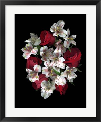 Framed Red Roses And Alstromeria Print