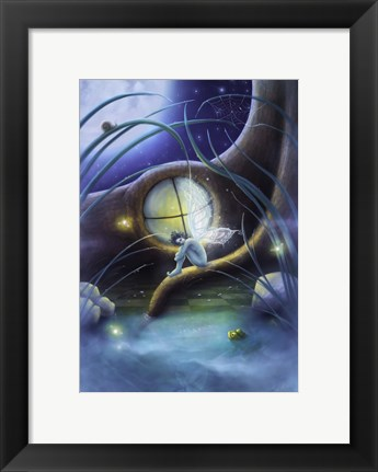 Framed Mr. Frog And The Fireflies Print