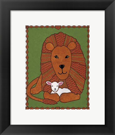Framed Lamb and Lion Mudcloth Print