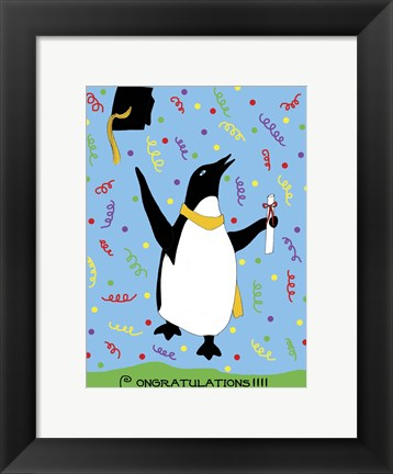 Framed Penguin Graduation Print