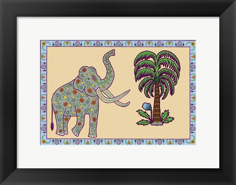Framed Elephant Left Page Print
