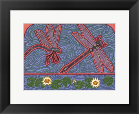 Framed Dragonflies Print