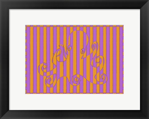 Framed O Octopus Orange Fuscia Print