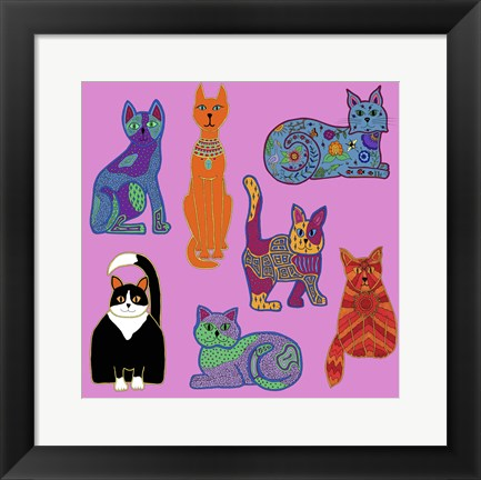 Framed 7 Cats Print