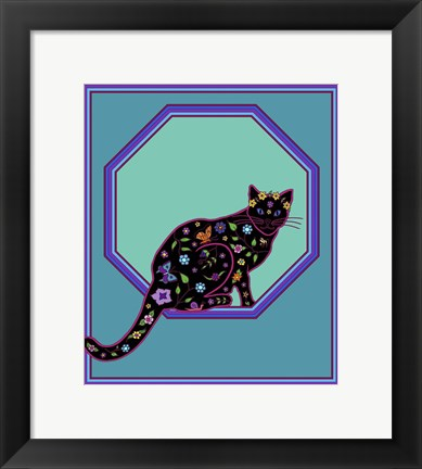 Framed Octagonal Cat Print