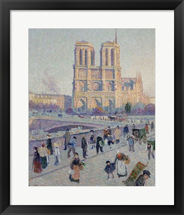 Framed Quai Saint-Michel And Notre-Dame, Paris 1901 Print