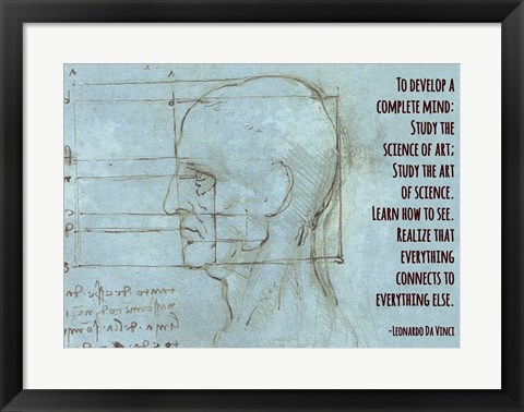 Framed To Develop a Complete Mind -Da Vinci Quote Print