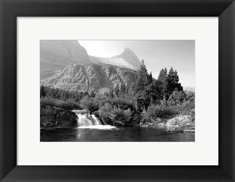 Framed Waterfall And Cliffs 6 Print