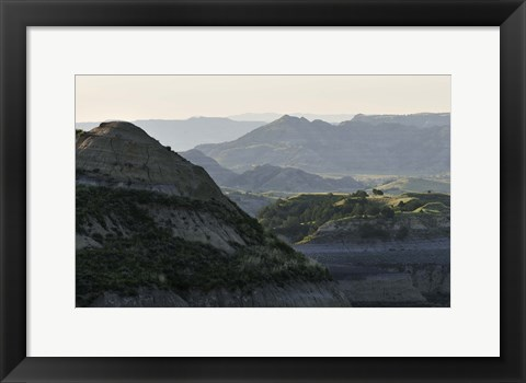 Framed Misty Mountains And Greenery Print