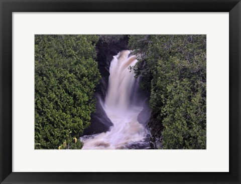 Framed Lake Superior Waterfall Between Trees Print