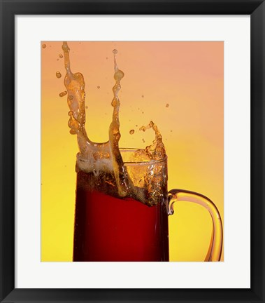 Framed Beer Mug And Splashing Foam Print