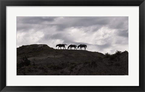 Framed Horse Silhouettes Under Clouded Sky Print