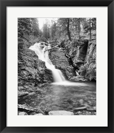 Framed Rushing Waterfall In Gorge Print