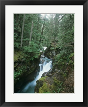 Framed Daytime Falls And Mossy Greenery Print