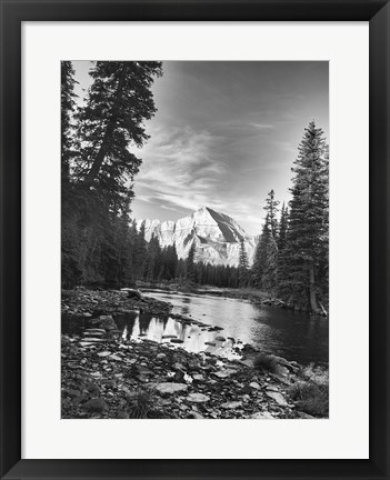 Framed Trees And Mountains White Vertical Print
