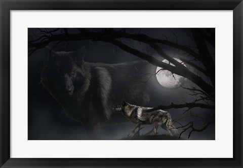 Framed Black Moon Wolf Print
