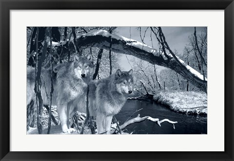 Framed At River's Edge Silvertone Print