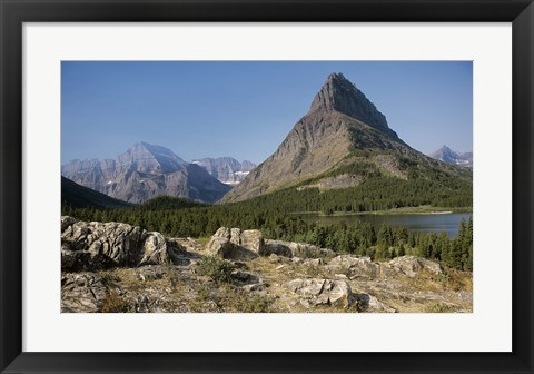 Framed Rocky Cliffs And Evergreens Print