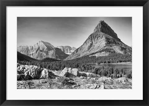 Framed Mountains And Lake Greenery Print