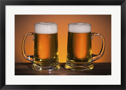 Framed Beer Mug Duo On Bar Print