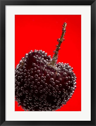 Framed Cherry Covered In Water Drops III Print