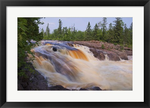Framed North Shore Rushing Water And Green Trees Print