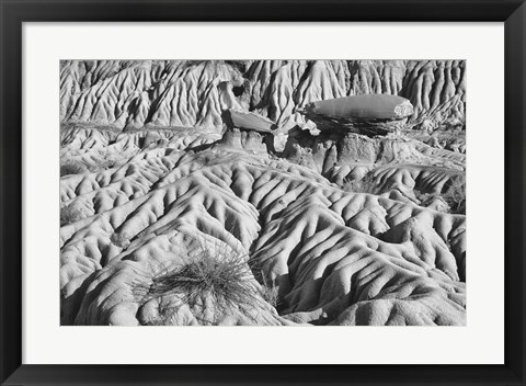 Framed Ridged Land Rocks Black And White Print