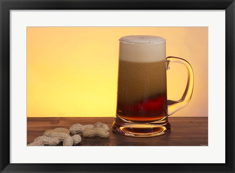 Framed Beer Foaming And Peanuts Print