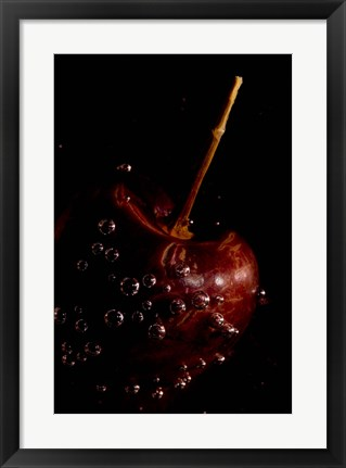 Framed Cherry Covered In Water Drops IV Print