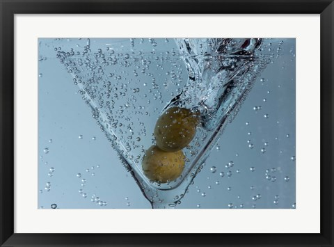 Framed Olive Duo In Martini Glass Closeup Print