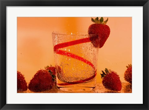 Framed Strawberries And Red Swirl Glass Print