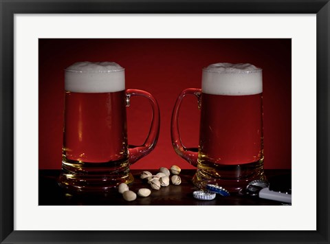 Framed Beer Mugs And Pistachio Nuts Print