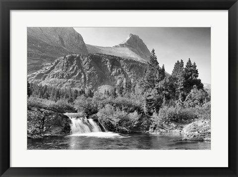Framed Mountains And Small Waterfall Print