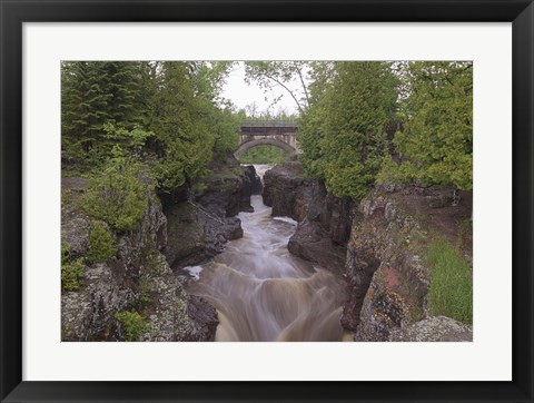 Framed North Shore Rushing Water And Bridge Print