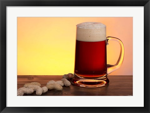 Framed Beer Sitting And Peanuts Print