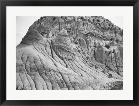 Framed Mountain Rock Forms Black And White Print