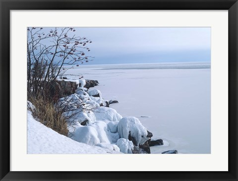 Framed Lake Superior Winter Snow 27 Print