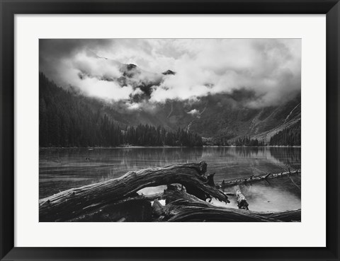 Framed Mountain And Lake With Wood Print