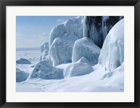 Framed Lake Superior Winter Snow 20 Print