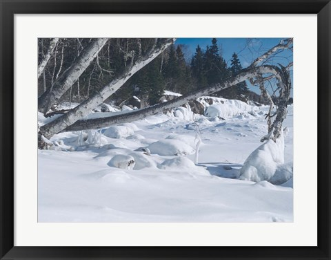 Framed Lake Superior Winter Snow 25 Print